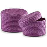 Zeller Basket with Lid, Plastic, Purple, 2-Piece