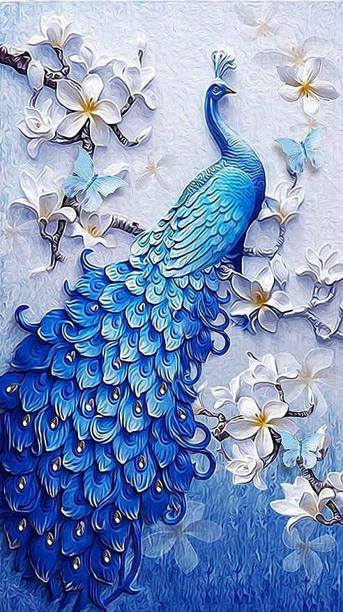 Kit fai da te per quadro 5D con perline decorazione domestica artigianale Lucky Bird a punto croce Pavone Tela 8*14inch realizzazione per aree numerate