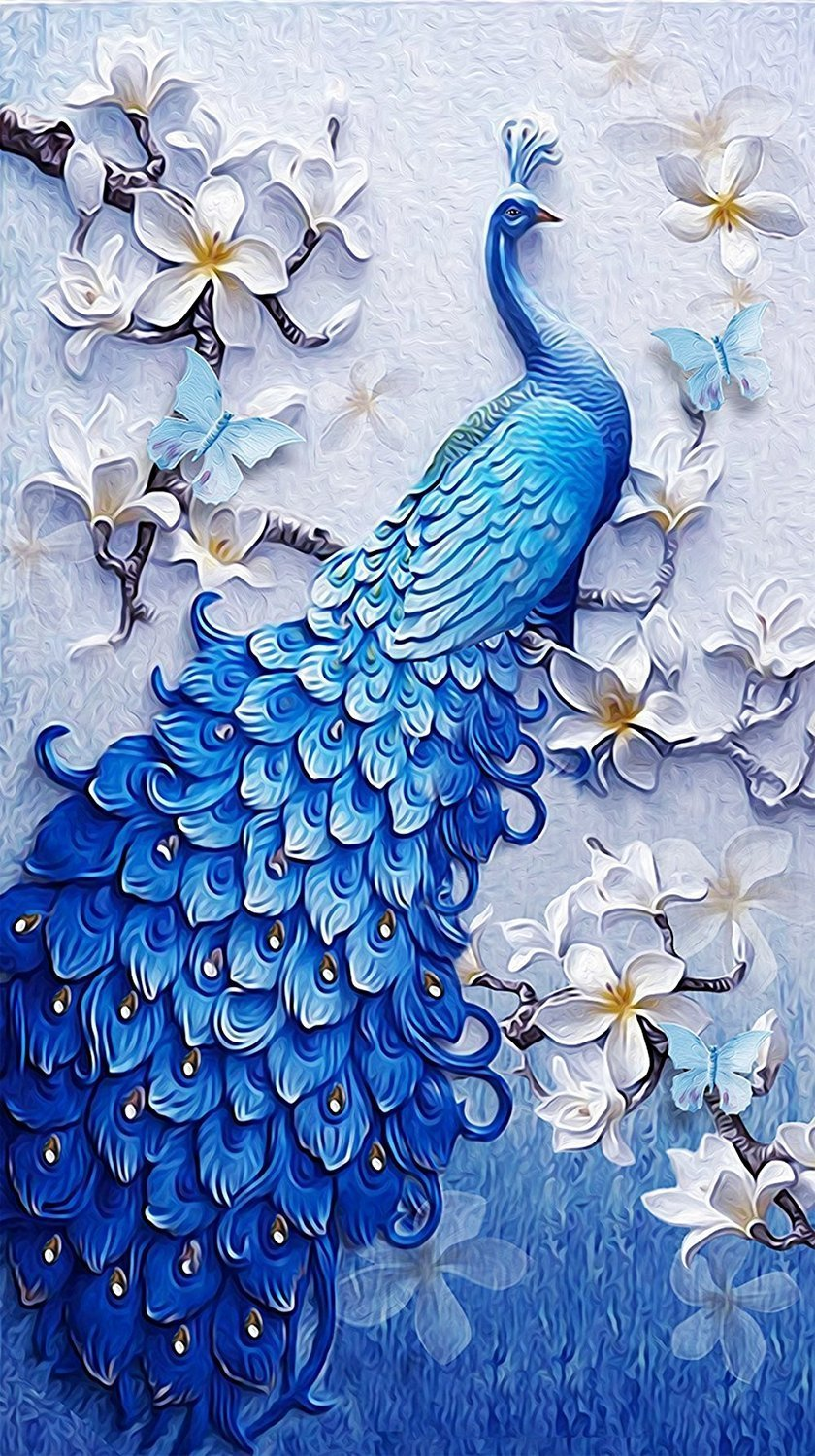 5D DIY Diamond Painting by Number Kits Full Drill Peacock Cross Stitch Wall Decor Crystals Arts Craft (A, 30x40cm) feilin