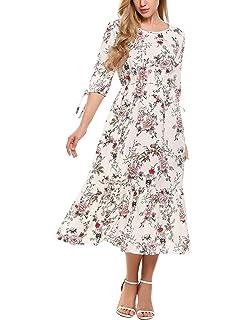 ddf36d85cf6 Zeagoo Women s Casual Floral Printed Cold Shoulder Chiffon Boho Maxi Long  Dress