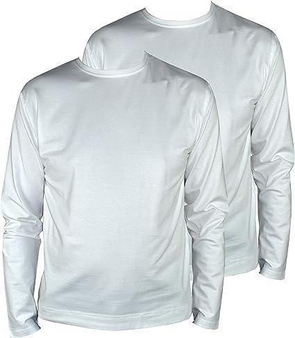 1stAmerican Abanderado Camisetas Interior de Manga Larga Cuello Redondo para Hombre - T-Shirt Stretch Basica de Algodon (Pack de 2): Amazon.es: Ropa y accesorios