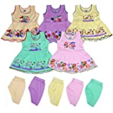 Sathiyas Baby Girls A-Line Hosiery Cotton Dresses (Multicolor, Set of 5)