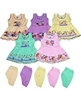 Sathiyas Akash 100% Hosiery cotton Baby Girls Colorful Fancy Dresses - (Set of 5 Dresses)