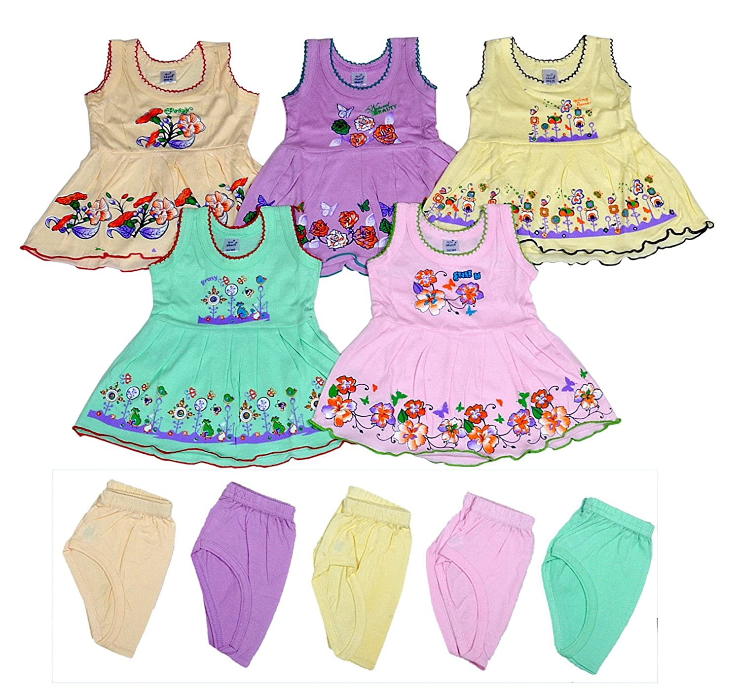 Sathiyas Baby Girls A Line Hosiery Cotton Dresses Multicolor Set
