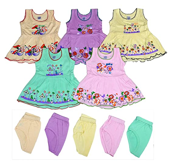 86335b68a Sathiyas Baby Girls A-Line Hosiery Cotton Dresses (Multicolor