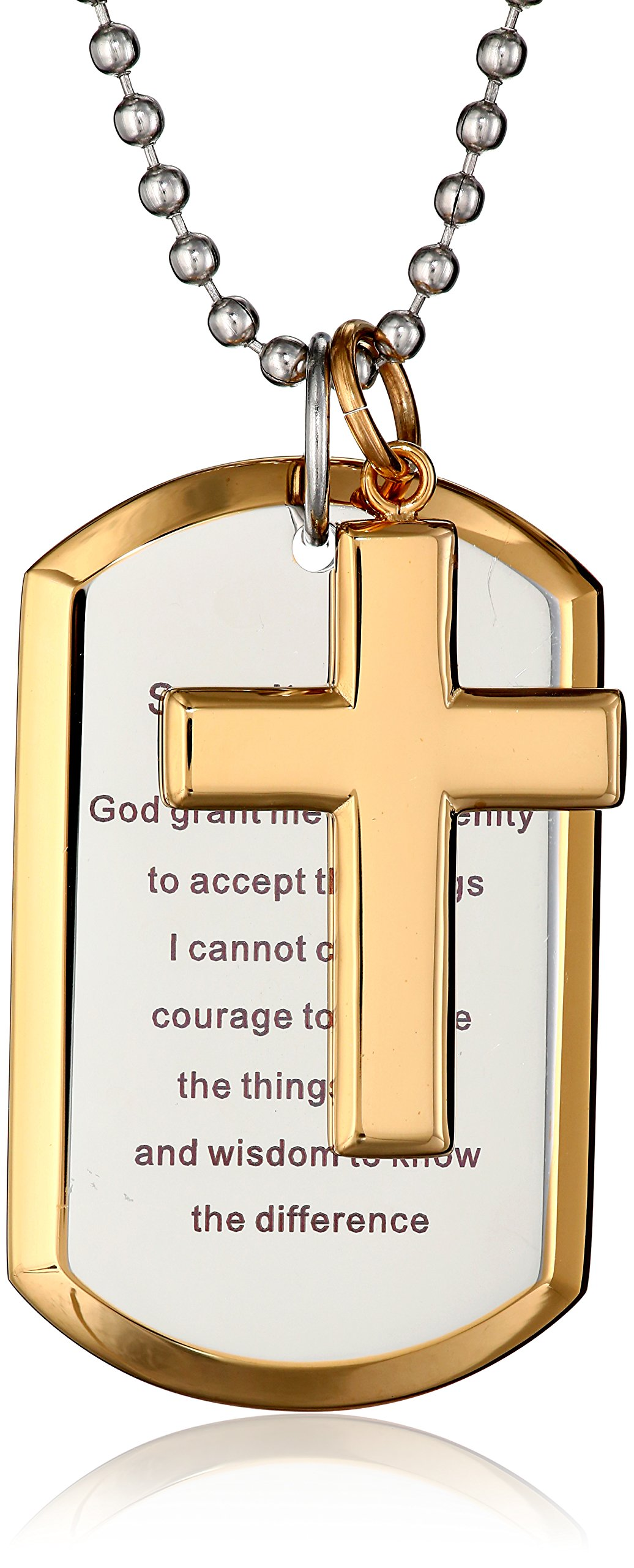 Cold Steel Men's Stainless Steel Yellow Immersion Serenity Prayer Cross Dog Tag Pendant Necklace, 24''