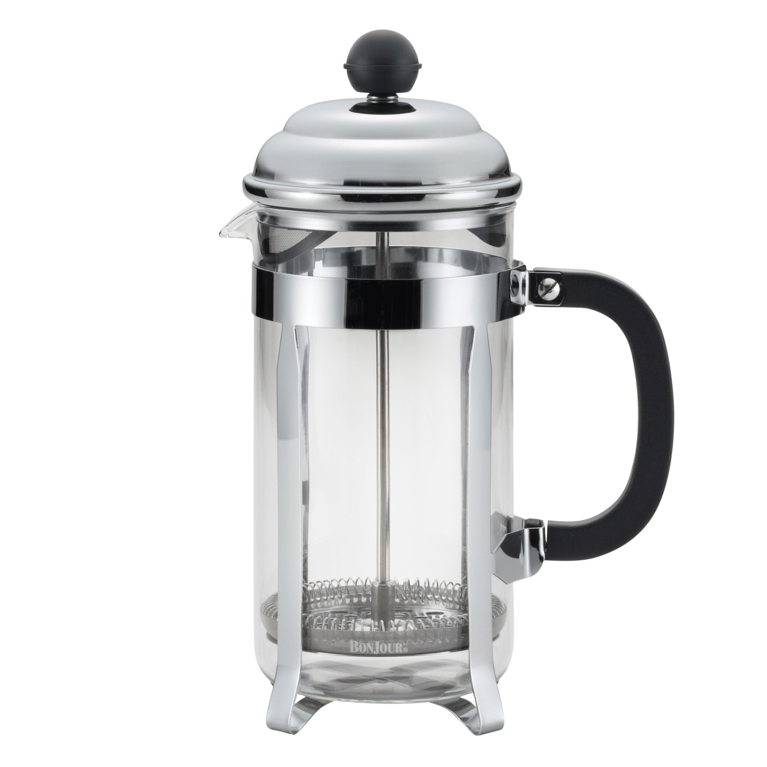 BonJour Coffee Stainless Steel French Press with Glass Carafe, 33.8-Ounce, Bijoux, Black Handle
