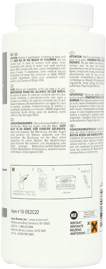Dezcal Urnex Activado Escala Remover Polvos de Talco, Color Blanco, 1 kg: Amazon.es: Hogar