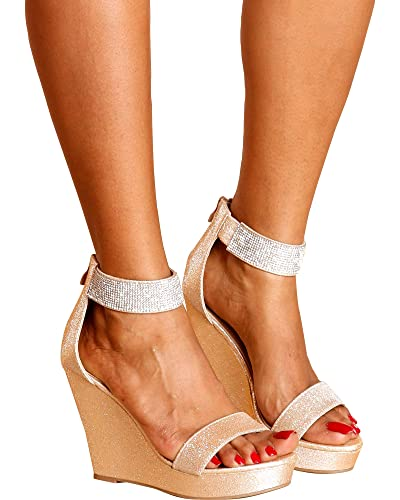 608060e3a47ac TOP Moda Women's Dressy Open Toe Rhinestone Ankle Strap Platform Hi-Wedge