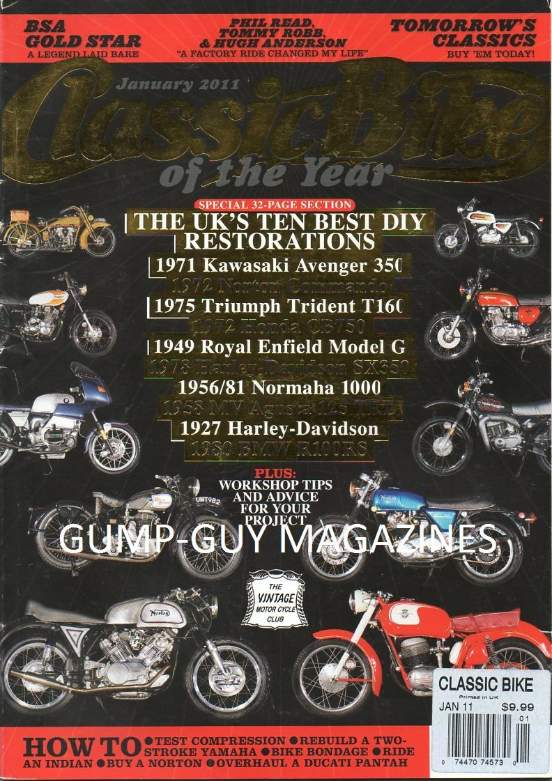Download Classic Bike of the Year UK January 2011 Magazine HOW TO: TEST COMPARESSION, REBUILD A TWO-STROKE YAMAHA, BIKE BONDAGE, RIDE AN INDIAN, BUY A NORTON, OVERHAUL A DUCATI PANTAH pdf