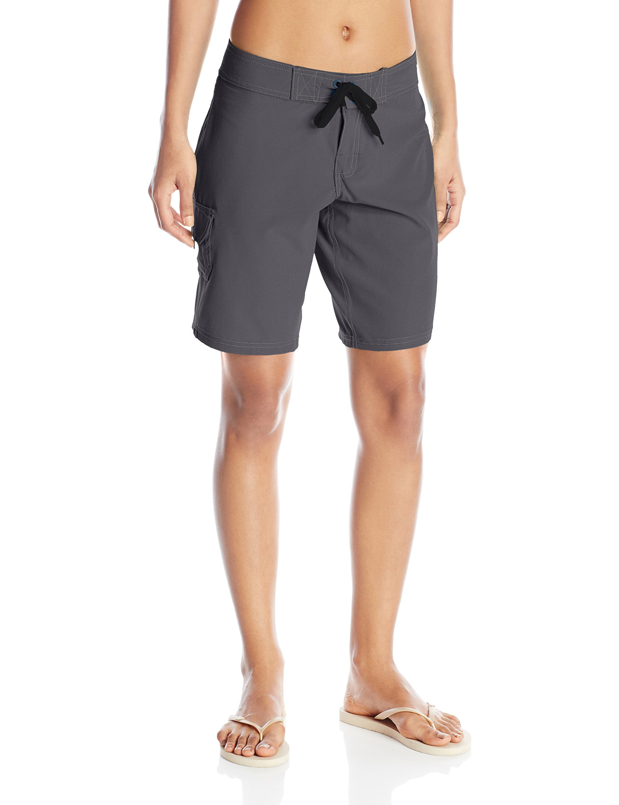 Kanu Surf Women's Marina Solid Stretch Boardshort, Charcoal, 8