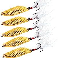 Sougayilang Spoons Hard Fishing Lures Treble Hooks Salmon Bass Metal Fishing Lure Baits Pack of 5pcs