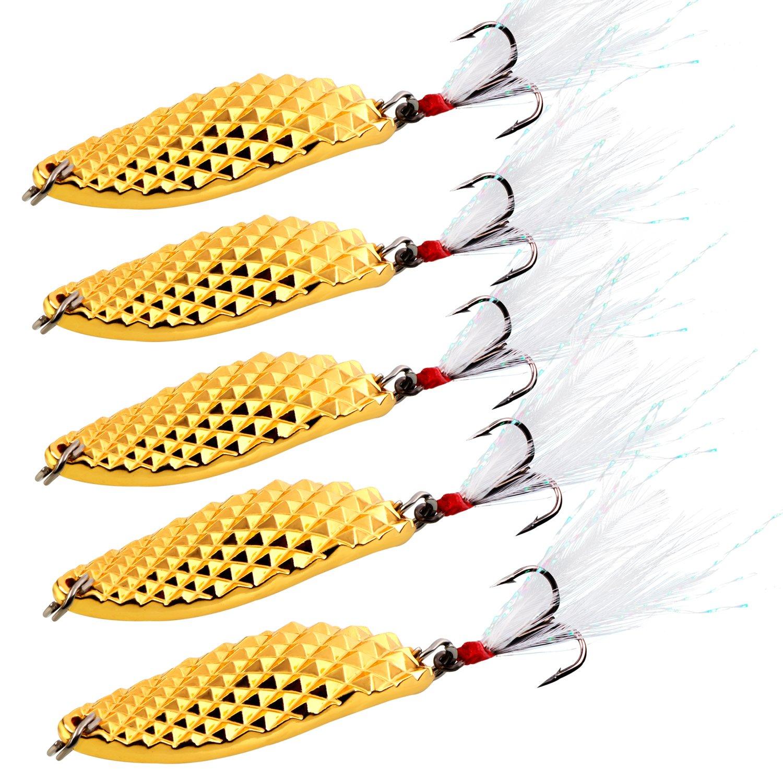 Sougayilang Spoons Hard Fishing Lures Treble Hooks Salmon Bass Metal Fishing Lure Baits Gold 5pcs by Sougayilang