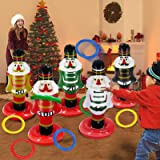 TURNMEON 5 Pack Christmas Nutcrackers Ring Toss Christmas Party Games Toys Inflatable Ring Toss Kids Family Christmas…