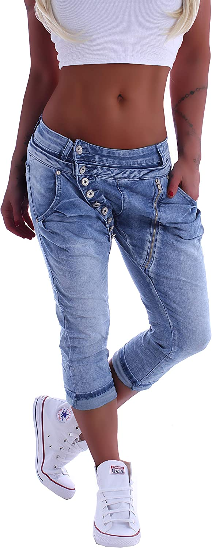 Style-Station Mozzaar Damen Boyfriend Jeans Baggy Haremshose Caprihose Bermudas Kurz XS 34 S 36 M 38 L 40 XL 42