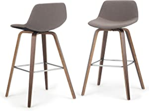 SIMPLIHOME Randolph Mid Century Modern Bentwood Counter Height Stool (Set of 2) in Mocha Woven Fabric
