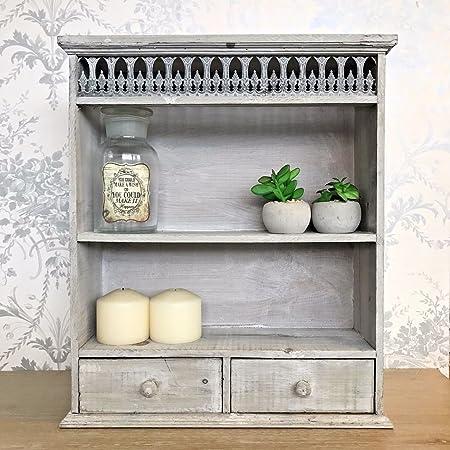 Oscar\'s Boutique Grey Shabby Chic Wall Unit Shelf Display Storage ...