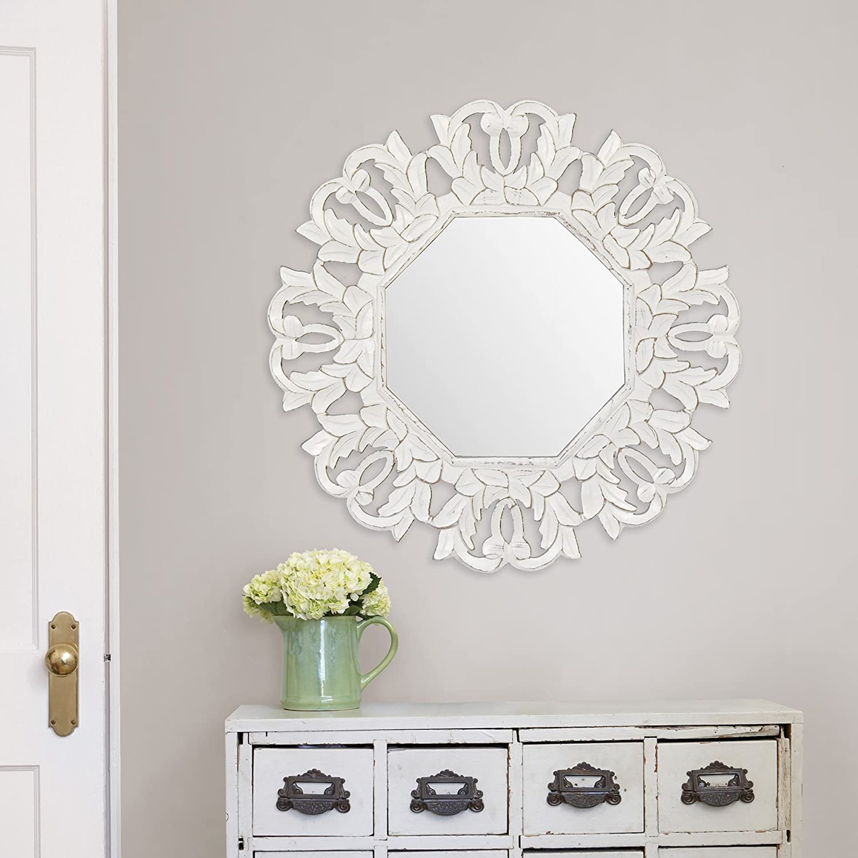 Amazon.de: fetco Home Decor Wall Art Tull Spiegel Medaillon Art weiß ...