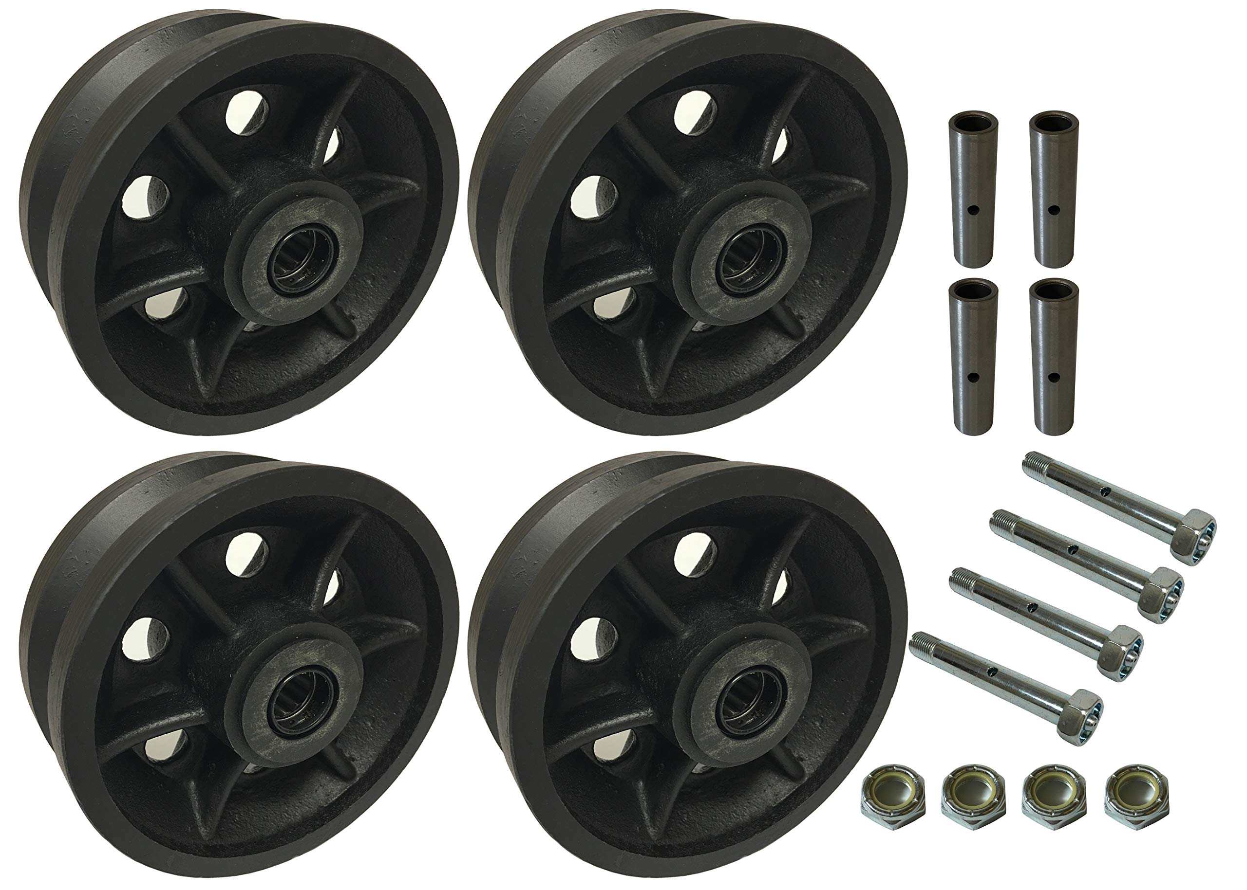 4 Heavy Duty Caster Wheels Set 4'' 5'' 6'' 8'' V-Groove Wheel Set with Bearing & Kit (5'' B & B & Axle)