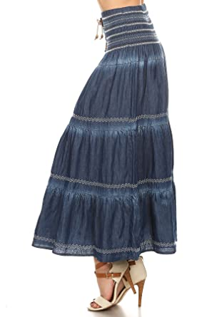 special for shoe select for authentic preview of Fashion2Love Fit and Flare Tiered Layers Denim Skirt or Midi Dress with  Corset Like Lacing