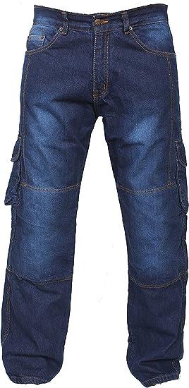 NEWFACELOOK Uomo Motociclo Jeans Motocicletta Moto Denim Pantaloni con Aramide Protezione Nero