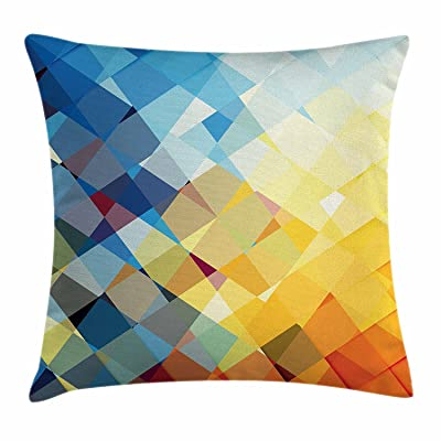 fengyijiating Yellow and Blue Throw Pillow Cushion Cover, Ombre Pattern in Factal Squares Broken Mosaic Form Modern Artistic, Decorative Square Accent Pillow Case 18 X 18 inch: Home & Kitchen