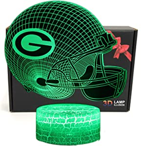 Deal Best Football Team 3D Optical Illusion 7 Colors LED Night Light Table Lamp with USB Power Cable for Packers Fans Gifts