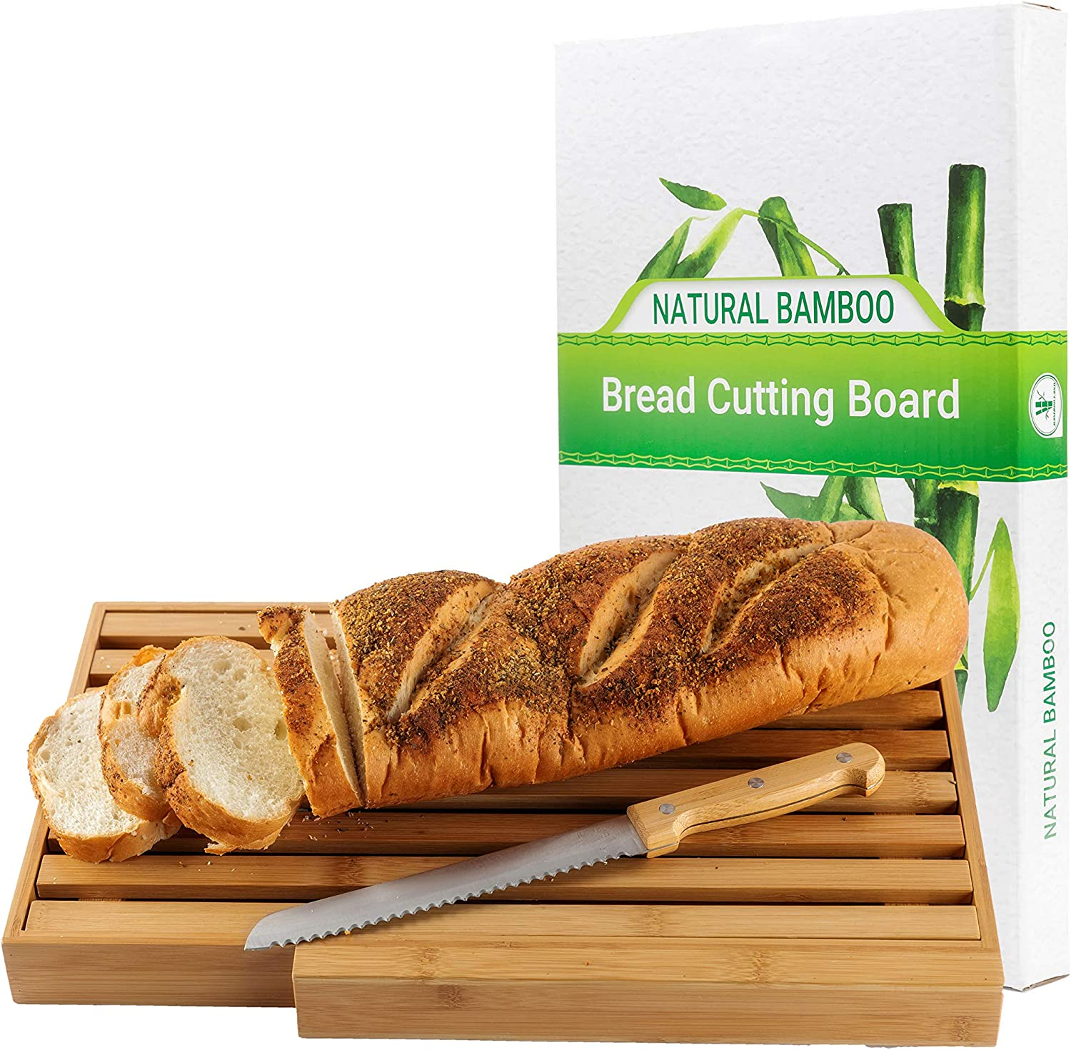 Bamboo bread cutting board with large bread knife, and crumb catcher/tray to cut homemade bread, loaf cake and bagel/Full bread cutting set, best present & Gift for housewarming