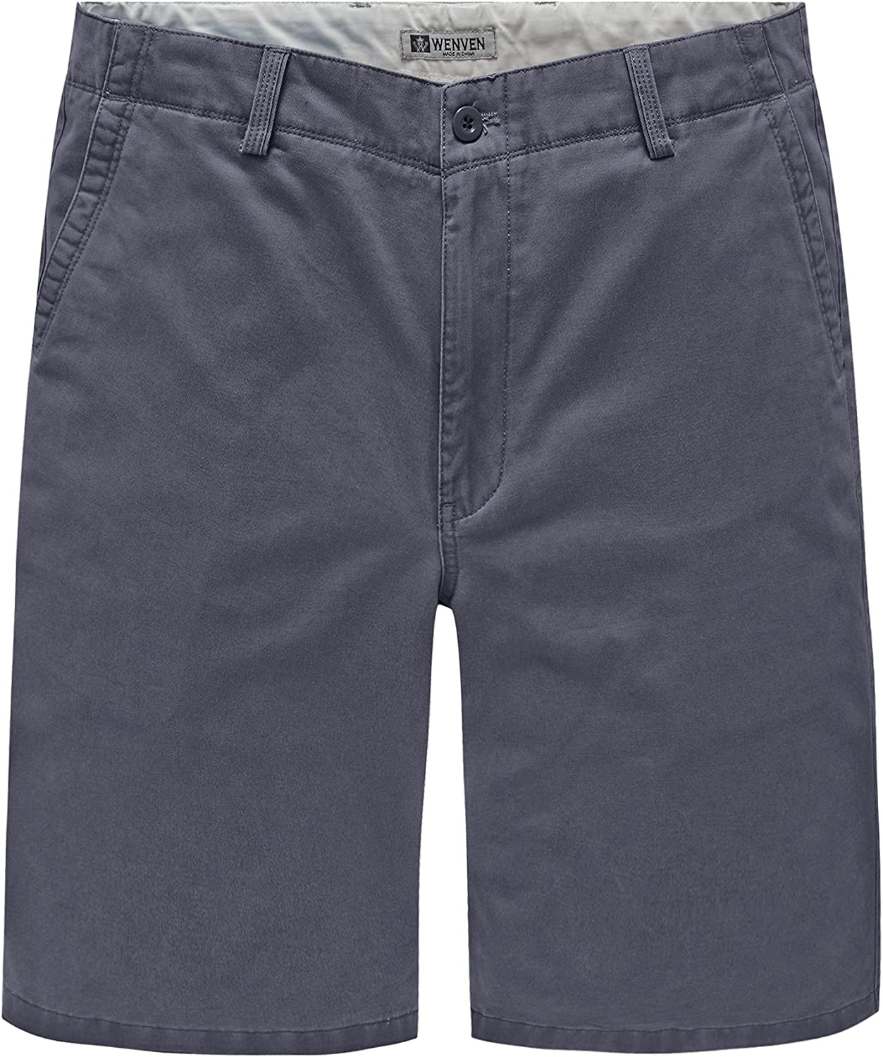 WenVen Men's 10 Inch Flat Front Chino Shorts