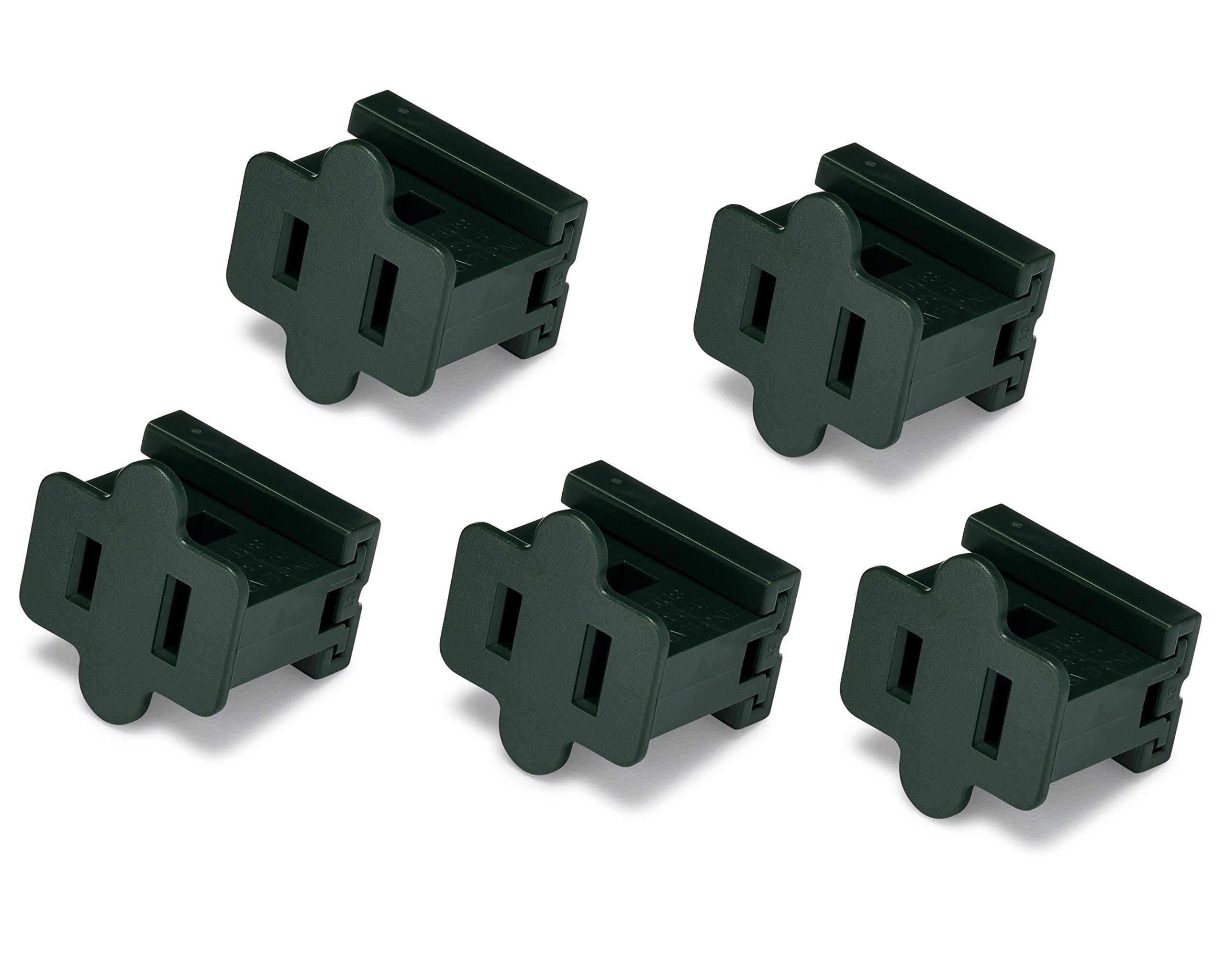 Holiday Lighting Outlet Female Green Slip Plug, Zip Plug, Vampire Plug, Gilbert Plug, Slide Plug (25, SPT-1)