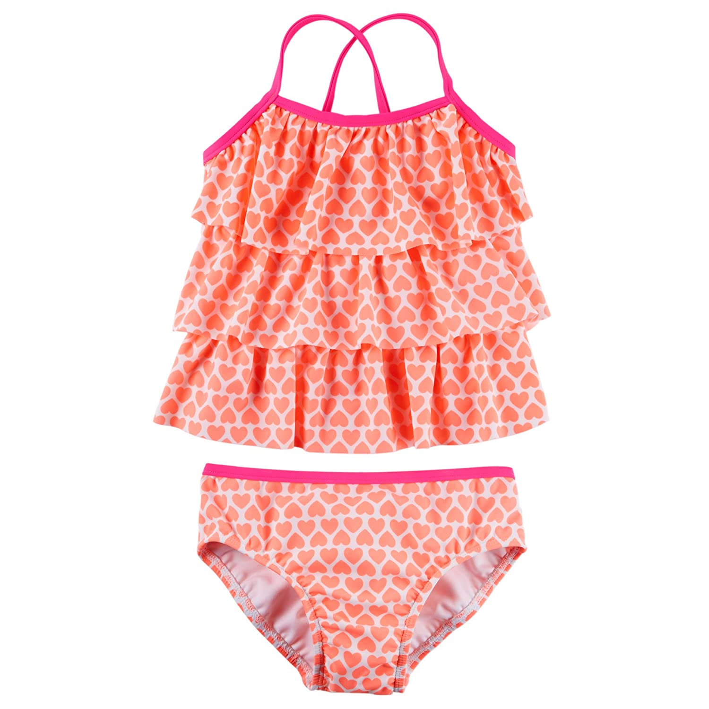 Carter's Baby Girl's Tiered Ruffle Tankini Set 24M Orange SC16509