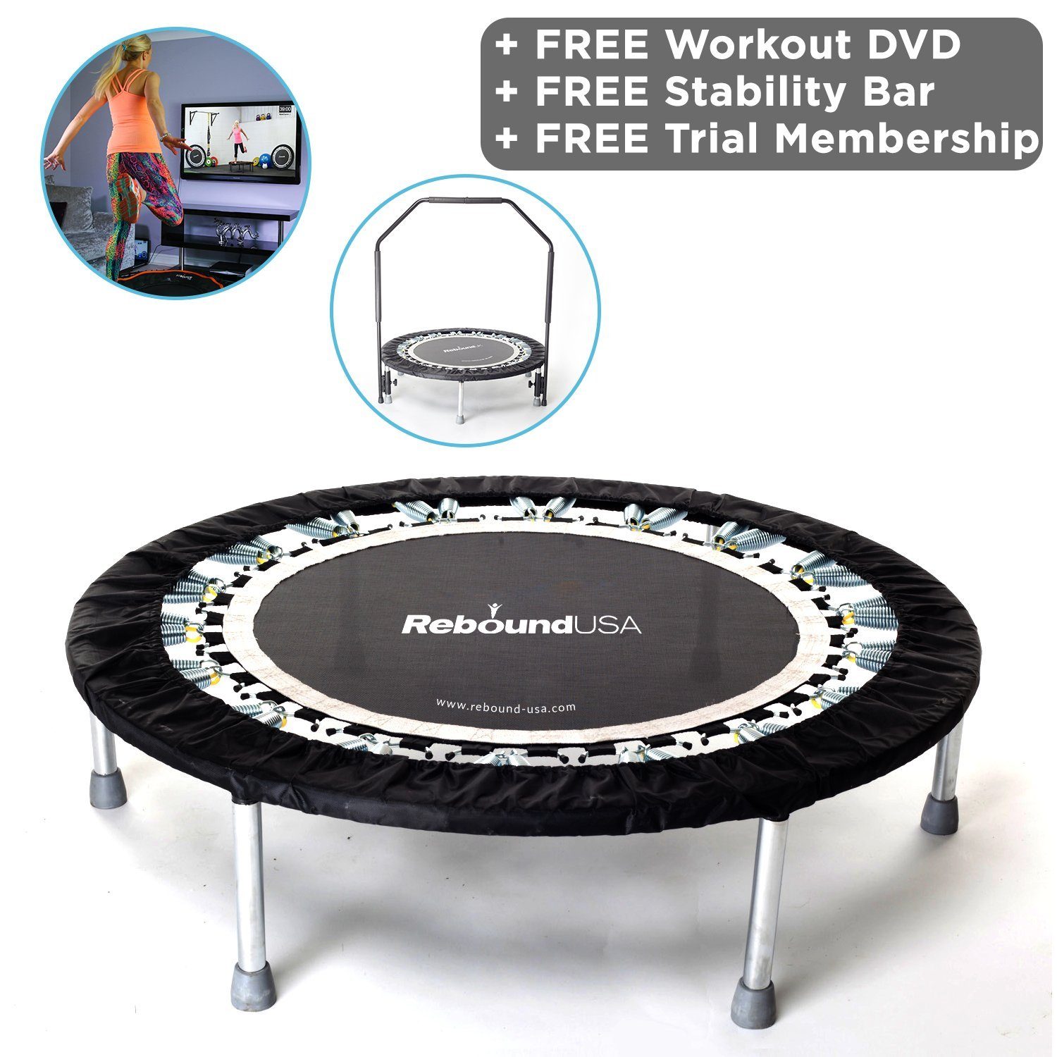 Jumpsport Handle Bar For Trampolines: MaXimus Pro Gym Rebounder Mini Trampoline With Handle Bar
