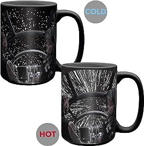 Zak Designs Star Wars Unique Color Changing Ceramic Coffee Mug, Collectible Keepsake and Wonderful Coffee Mug (15oz, Han Solo and Millennium Falcon, BPA-Free)