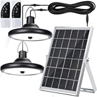Upgraded Double Head Solar Pendant Light Motion Sensor JACKYLED IP65 Waterproof Outdoor LED Shed Light with Dimmable…