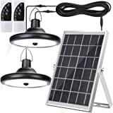 Upgraded Double Head Solar Pendant Light Motion Sensor JACKYLED IP65 Waterproof Outdoor LED Shed Light with Dimmable Remote C