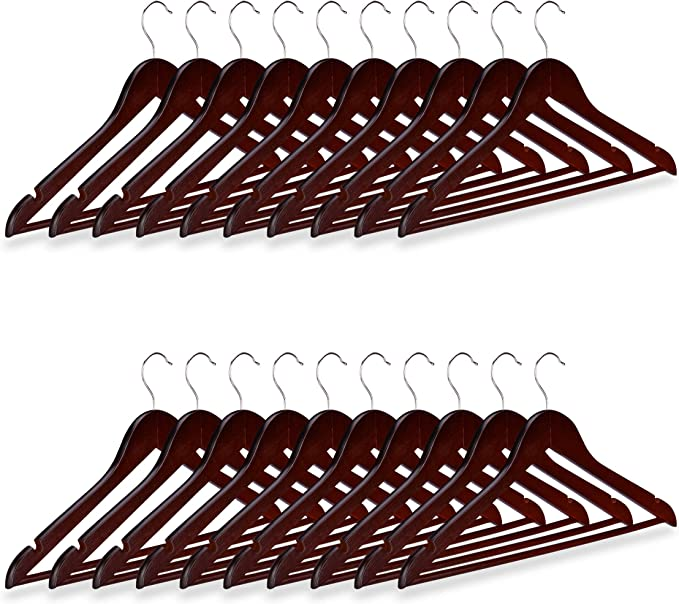 40 cm Beige Madera Relaxdays Pack de 10 Perchas Antideslizantes con Giro de 360/º