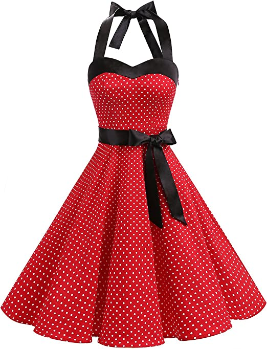 TALLA M. Dresstells® Halter 50s Rockabilly Polka Dots Audrey Dress Retro Cocktail Dress Red Small White Dot M