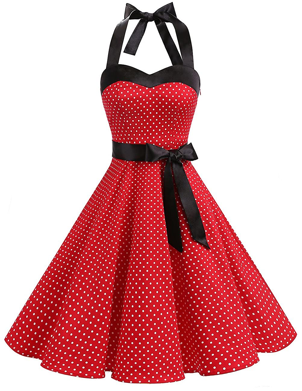 TALLA L. Dresstells® Halter 50s Rockabilly Polka Dots Audrey Dress Retro Cocktail Dress Red Small White Dot L