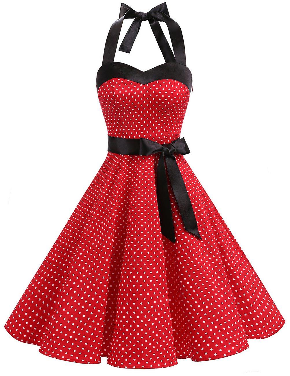 7243147948f DRESSTELLS 50s Retro Halter Rockabilly Polka Dots Audrey Dress Cocktail  Dress Red Small White Dot M