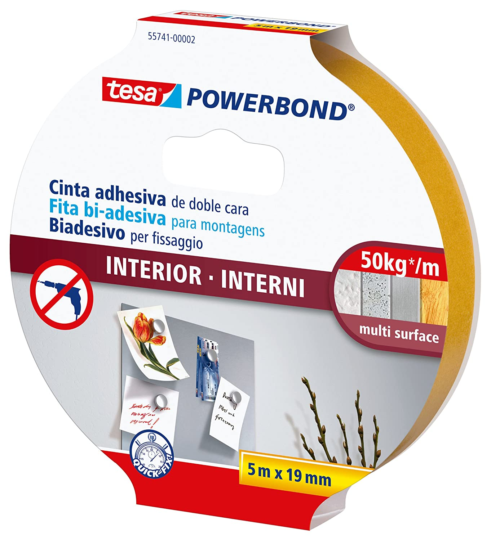 Tesa 55741-00002-04 Powerbond Nastro Biadesivo Forte per Interni, 5m/19mm 55741-00002-02