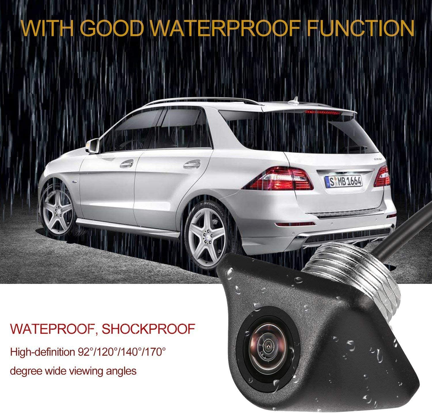 CL009 Car Backup Camera HD Universal Parking Assistance Auto Rear View Camera Waterproof Reverse Camera 480TV Lines 170 Degree View Angle