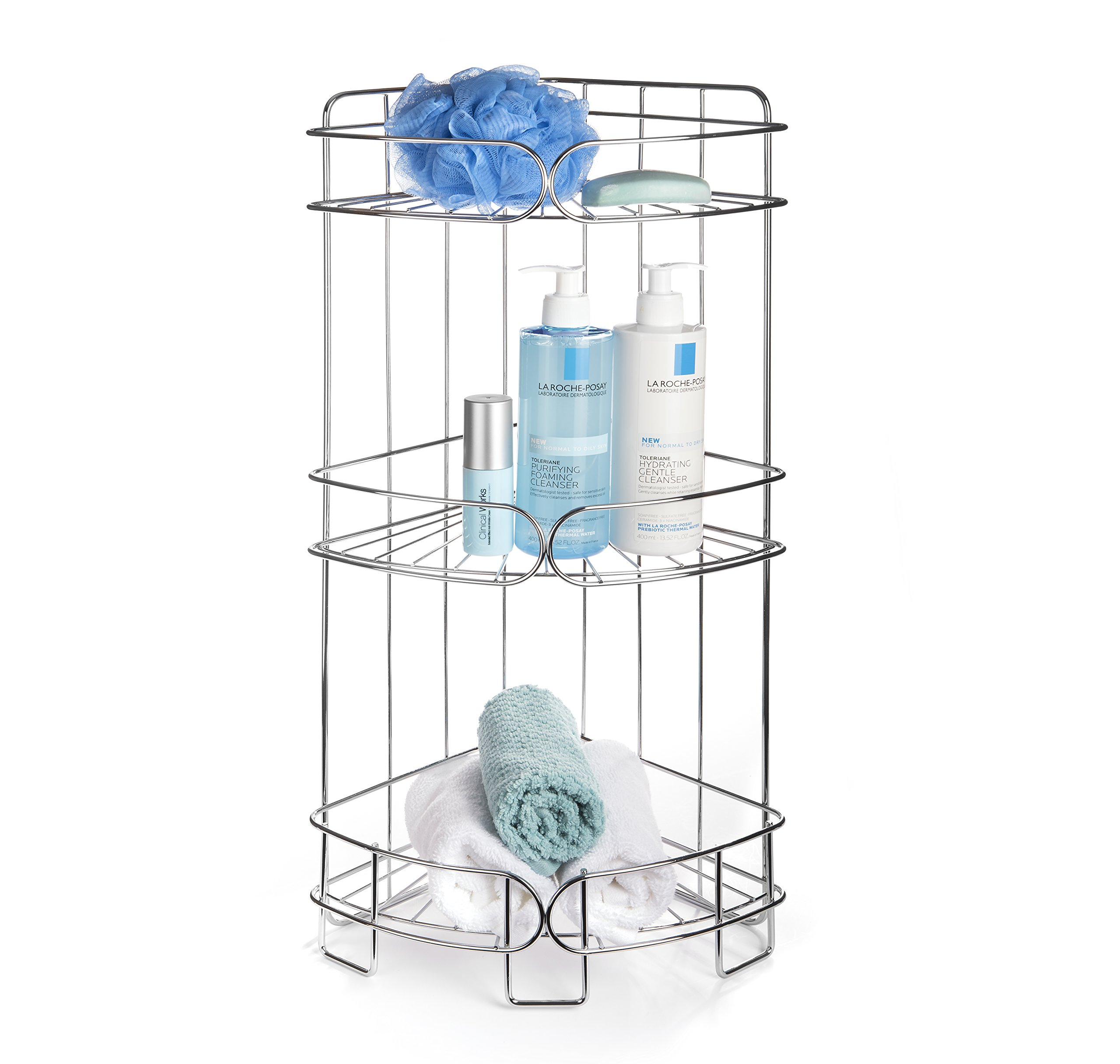AMG and Enchante Accessories Free Standing Bathroom Spa Tower Storage Caddy, FC100004 CHR, Chrome