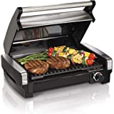 Hamilton Beach Electric Indoor Searing Grill Removable Easy-To-Clean Nonstick Plate, 6-Serving, Extra-Large Drip Tray, Stainl