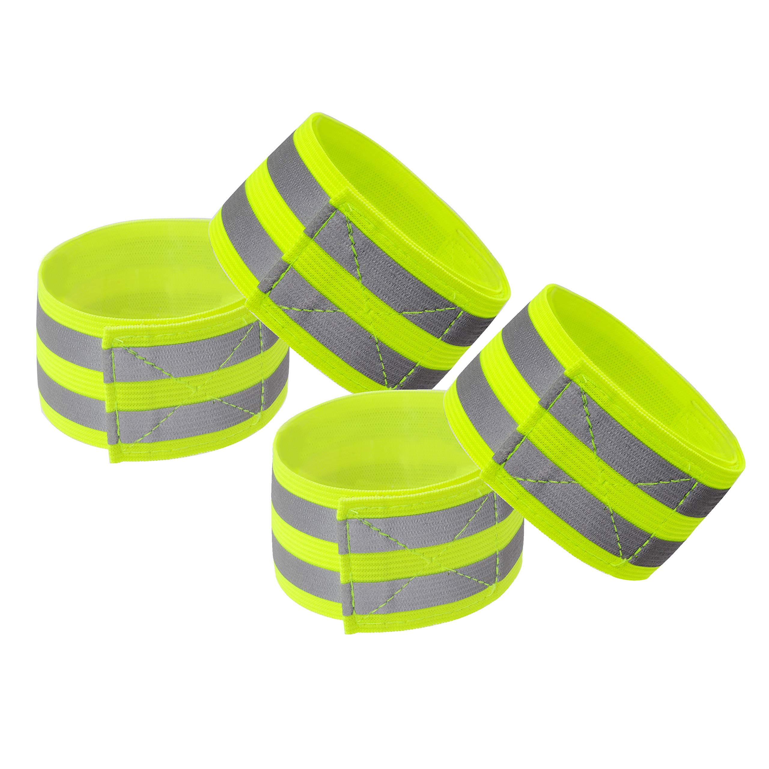 Techion Reflective Fabric Wristband/Armband/Ankle Bands with Two Reflective Strips for Cycling/Biking/Walking/Jogging…