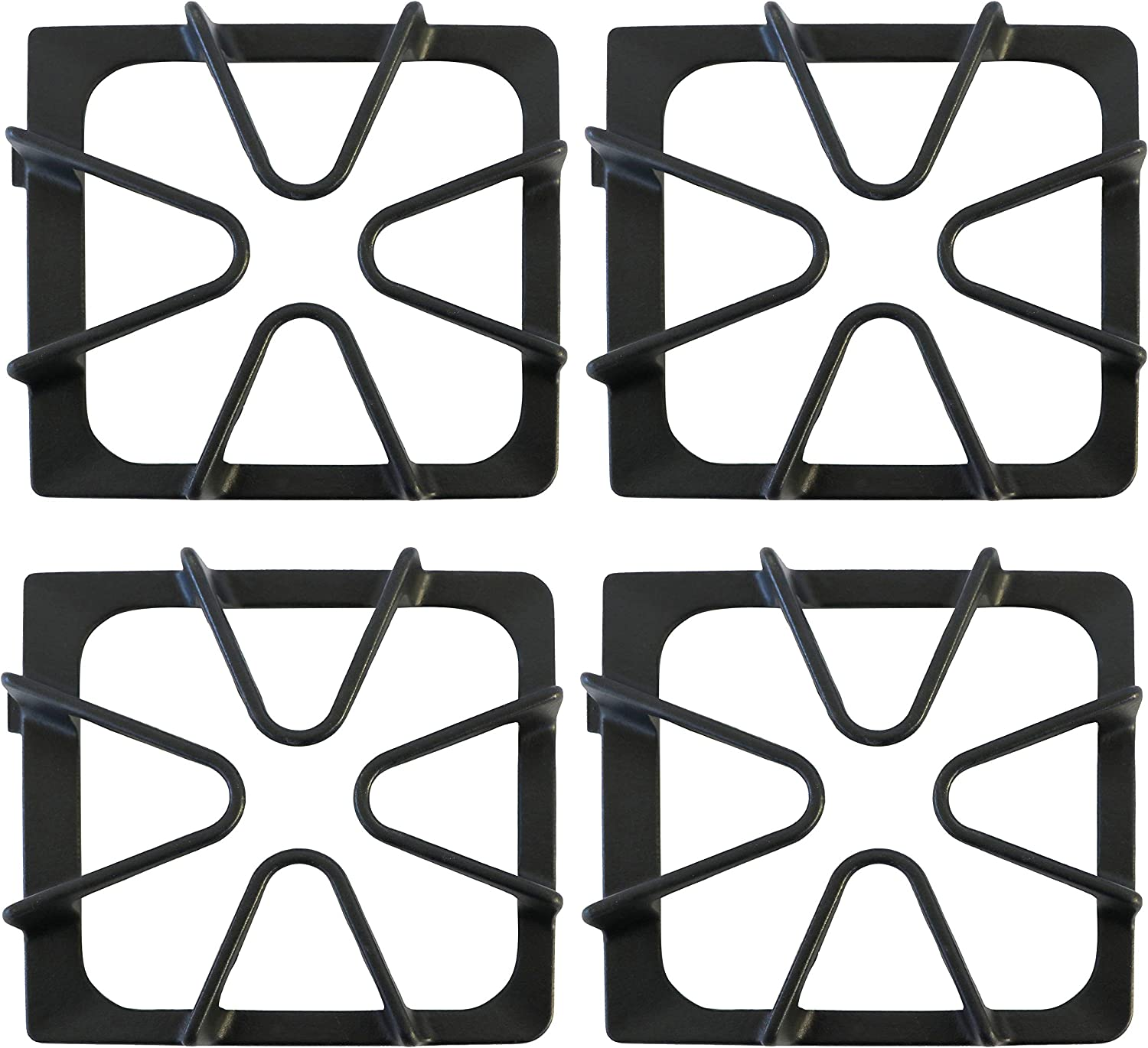 KITCHEN BASICS 101 Replacement Oven Stove Range Burner Grates Compatible with Whirlpool Stoves 8522858, WP8522858 8053456, WP8053456, WPW10447925, 4 Pack, Matte Black