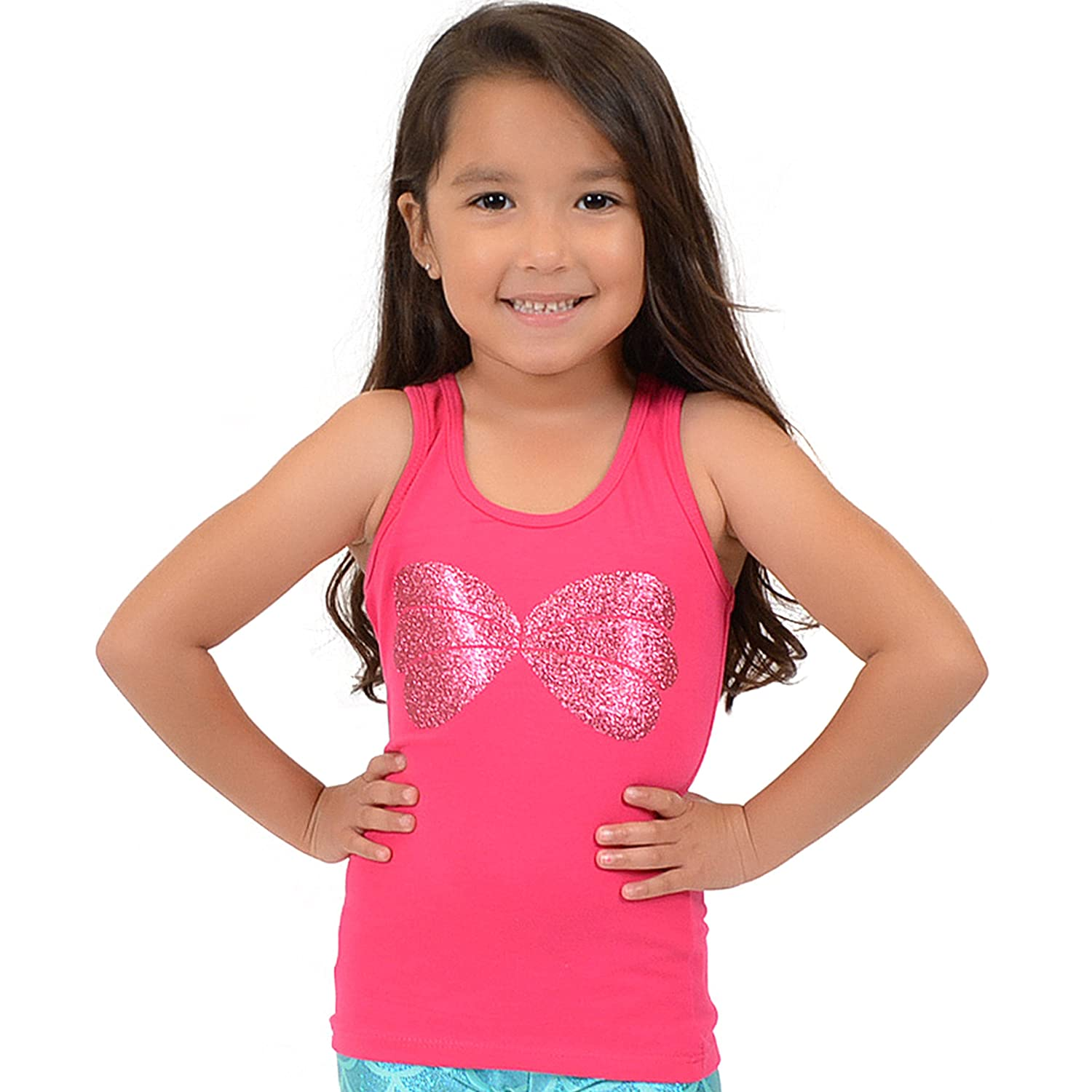 Hot Pink Stretch Is Comfort Girl's Mermaid Seashell Sparkly Ariel Tank