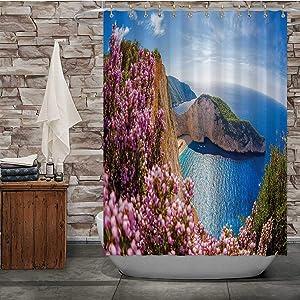 C COABALLA Navagio Beach with Shipwreck and Flowers Against Sunset,Bathroom Decor Set Zakynthos Island for Bathroom 84''Wx72''H
