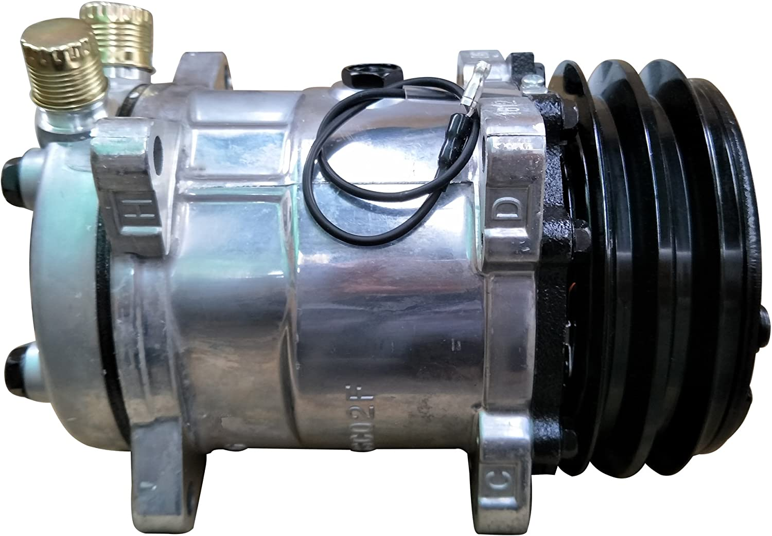 ACTECmax Universal A/C Compressor with Black 2PK Clutch SD 508 Style 5H14 R134A V Belt