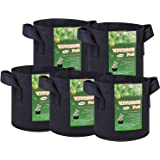 VIVOSUN 5-Pack 3 Gallon Plant Grow Bags, Premium Series Thichkened Non-woven Aeration Fabric Pots w/Handles - Reinforced Weight Capacity & Extremely Durable (Black)
