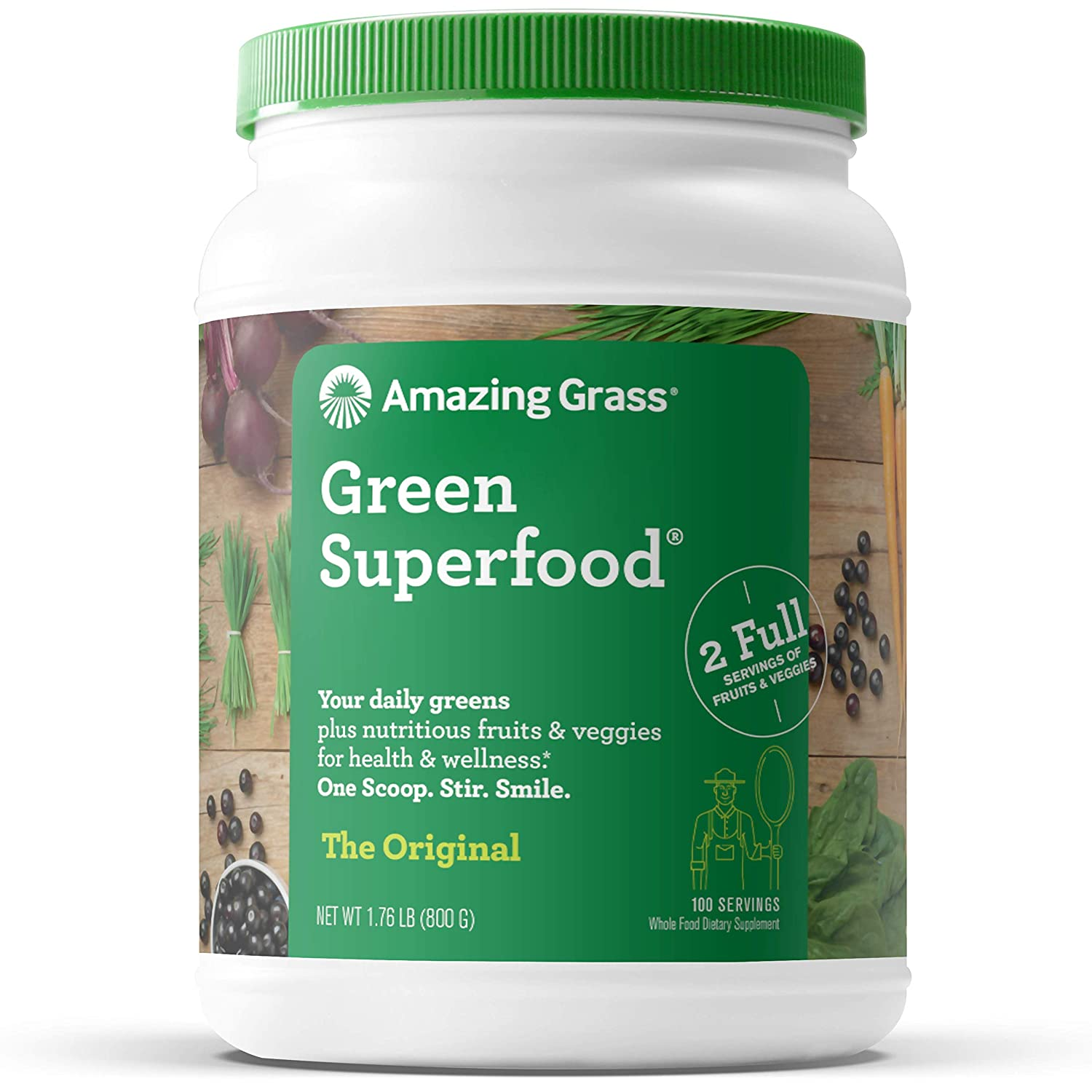 Amazing Grass Green Superfood: Super Greens Powder with Spirulina, Alfalfa, Digestive Enzymes & Probiotics, Original, 100 Servings